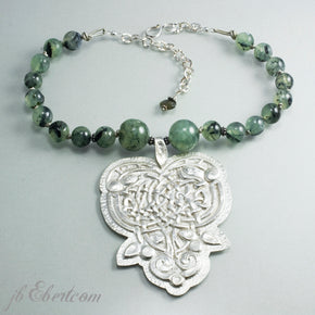 Silver celtic knot necklace Irish pendant - jbEbert studio art jewelry
