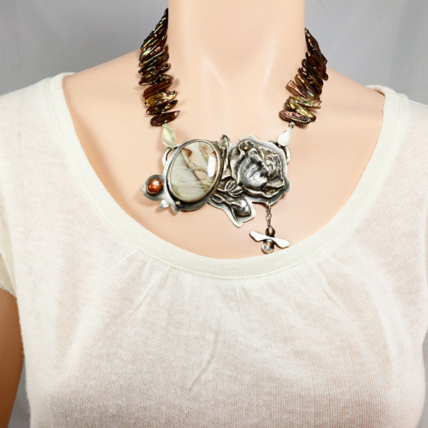 Bee and rose mixed metal biwa pearl necklace - jbEbert studio art jewelry