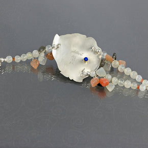 Single rose moonstone and Argentium silver bracelet - jbEbert studio art jewelry
