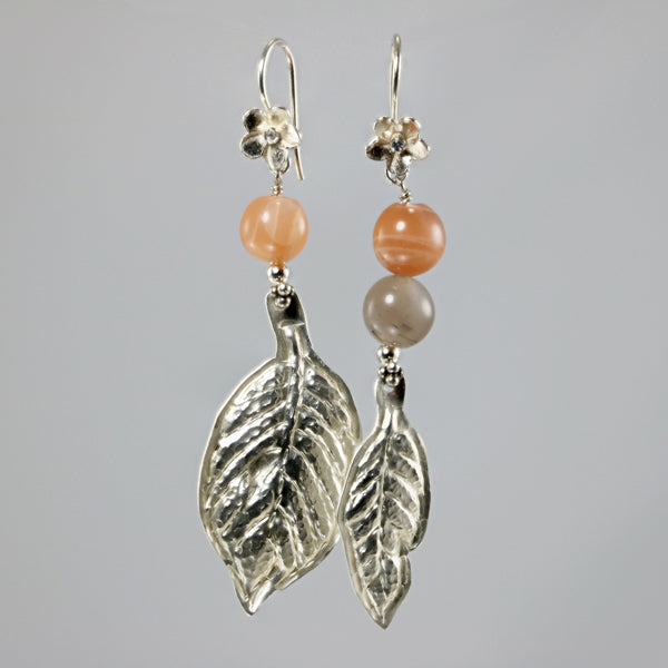 Moonstone and silver gemstone leaf earrings - jbEbert studio art jewelry