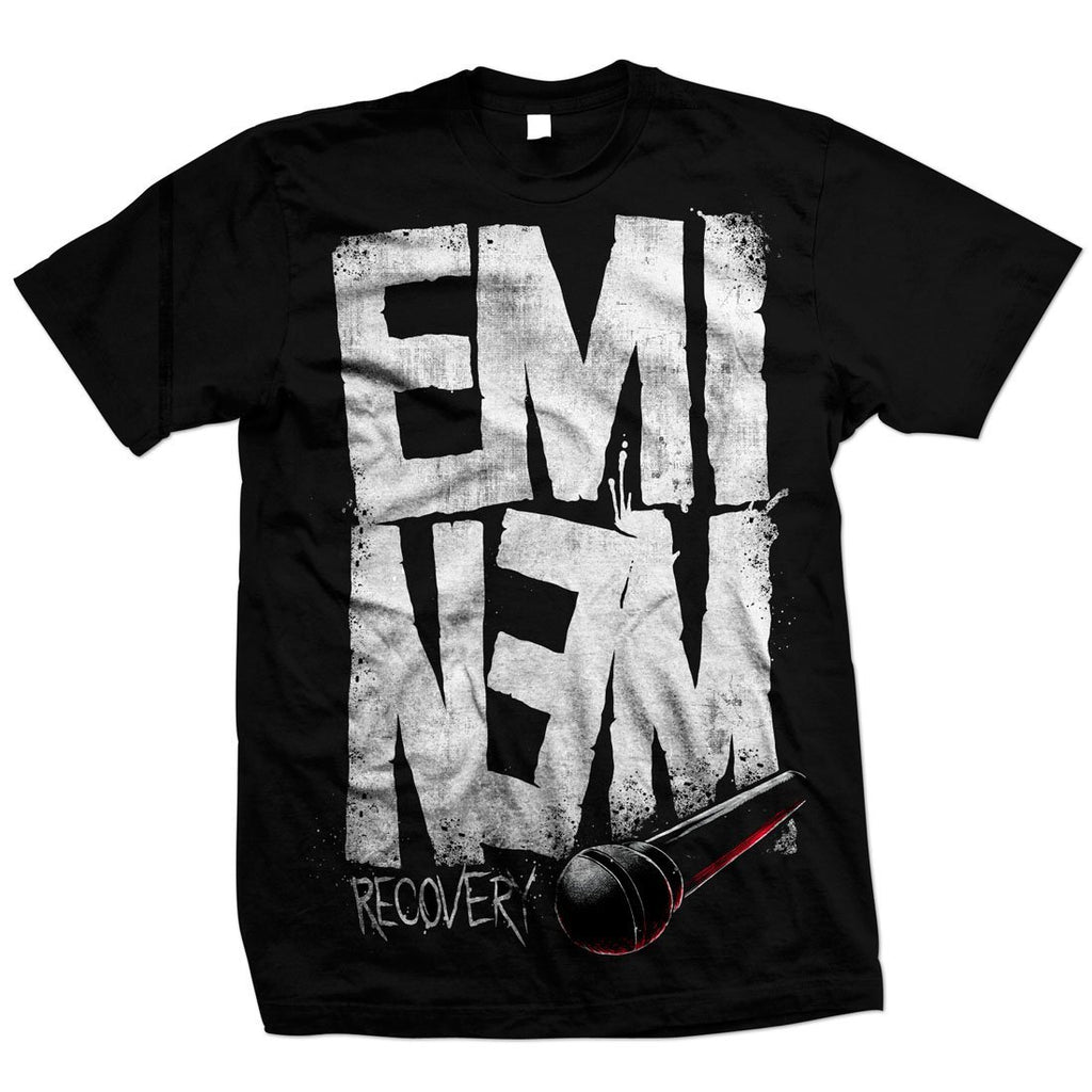 Eminem Recovery Microphone Black T-Shirt - MOBOLINE