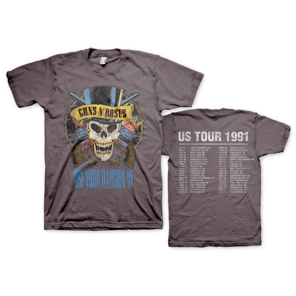 Guns N' Roses Us Tour 1991 - Mens Vintage Coal T-Shirt - MOBOLINE