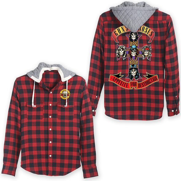 Guns N' Roses Cross Red/Blue Flannel W Hood - MOBOLINE