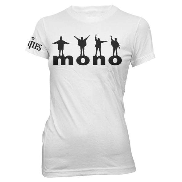 The Beatles Mono Figures - Womens White T-Shirt