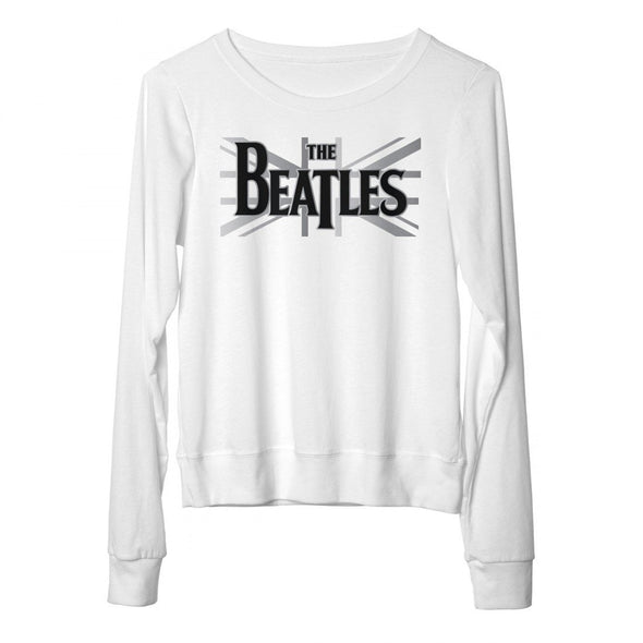 The Beatles Union Jack - Womens White French Terry T-Shirt