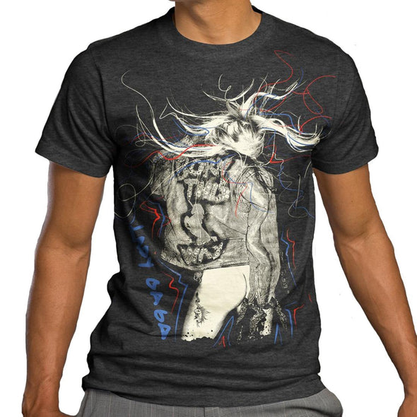 Lady Gaga Scribbles - Mens Charcoal Heather T-Shirt - MOBOLINE