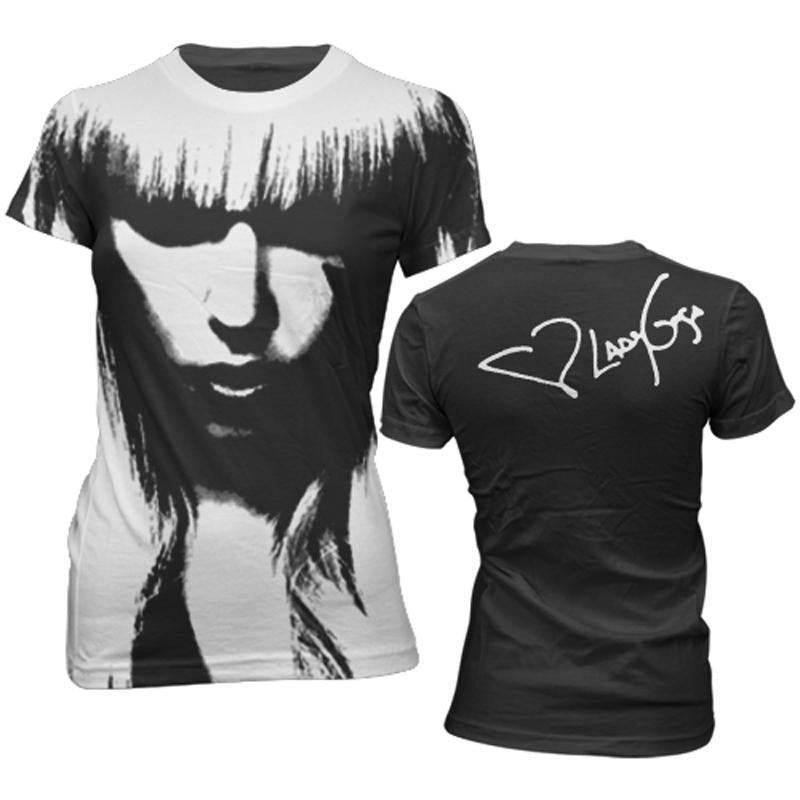 Lady Gaga All Over Face - Youth Black T-Shirt - MOBOLINE