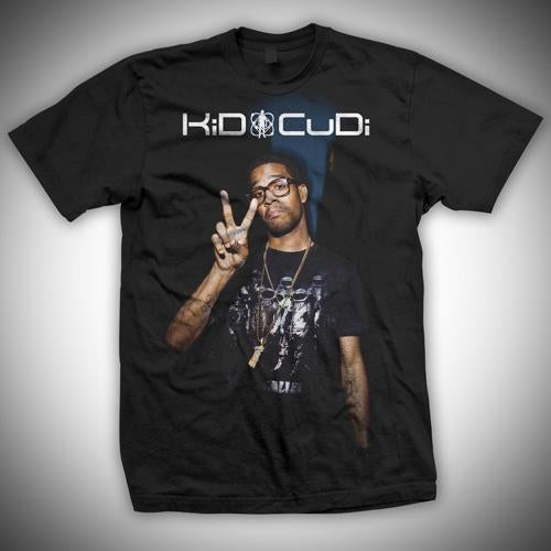 Kid Cudi Peace Sign Photo - Mens Black T-Shirt - MOBOLINE