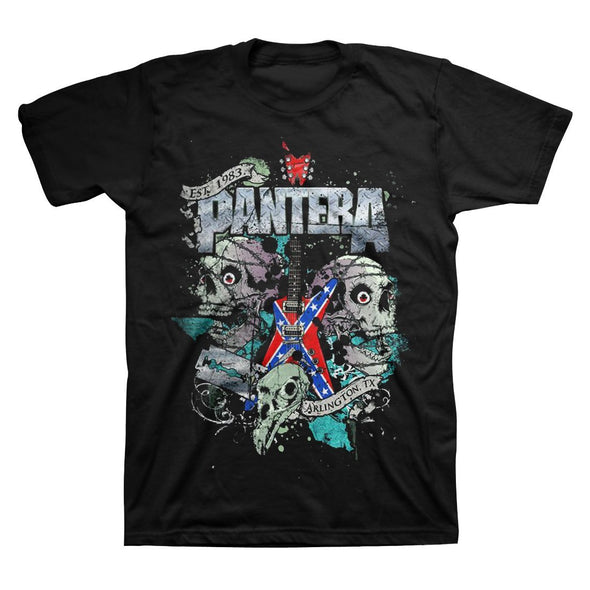 Pantera Texas Skull - Mens Black T-Shirt