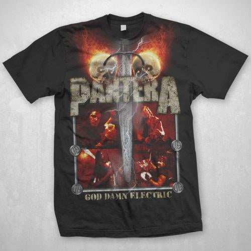 Pantera Lightning Skulls - Mens Black T-Shirt