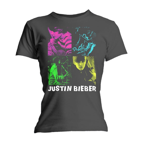 Justin Bieber Four Square - Youth Slate Heather T-Shirt - MOBOLINE