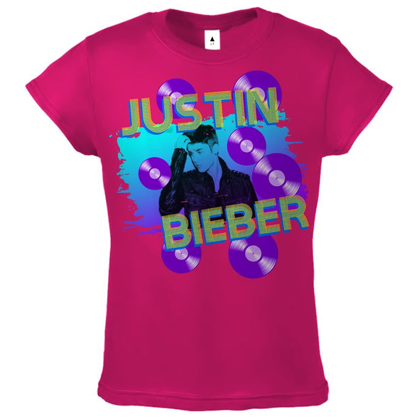Justin Bieber Splatter Records - Youth Hot Pink T-Shirt - MOBOLINE