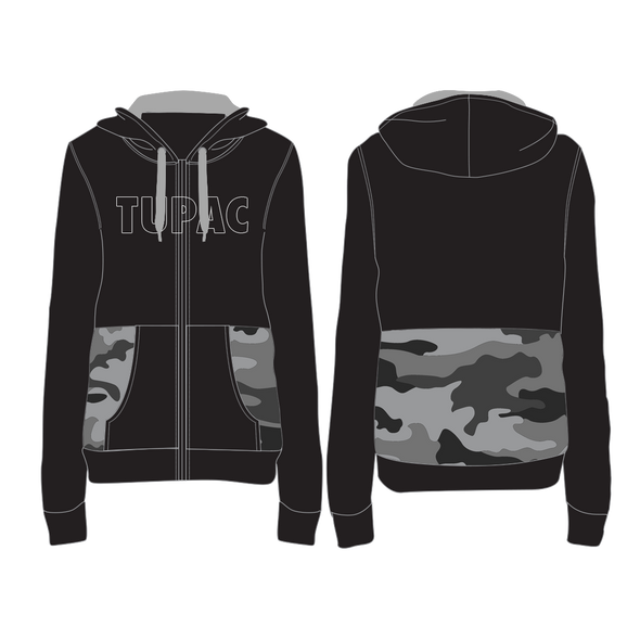 Tupac Shakur Smoke Embroidered - Mens Black Hoodie