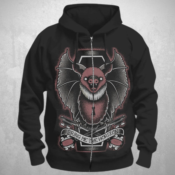 Bring Me The Horizon Black Bat - Mens Black Zip Hoodie - MOBOLINE