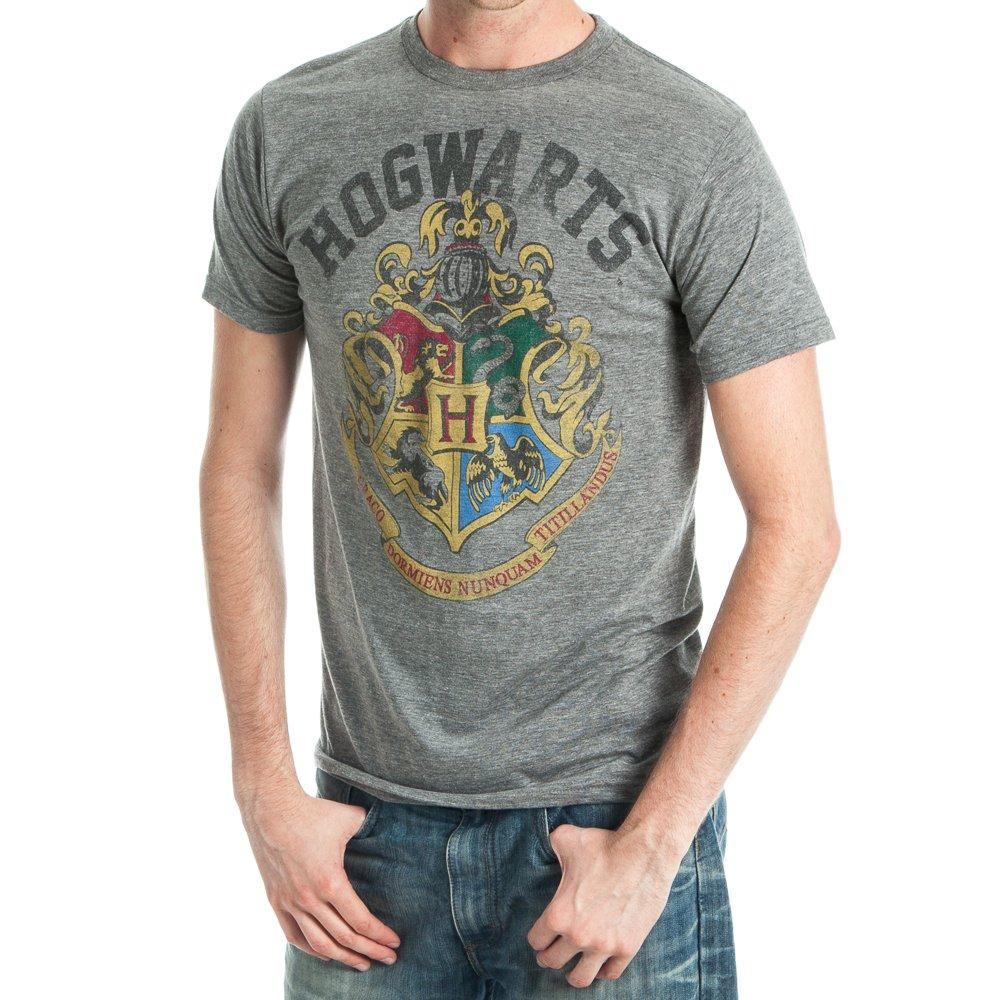 Harry Potter Hogwarts Crest Men's Athletic Heather T-Shirt - Wizard School - MOBOLINE