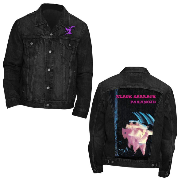 Black Sabbath Paranoid Denim - Mens Black Denim Jacket - MOBOLINE