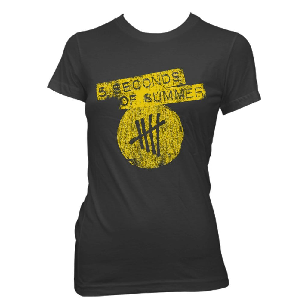 5 Seconds Of Summer Tally Logo - Womens Charcoal T-Shirt - MOBOLINE