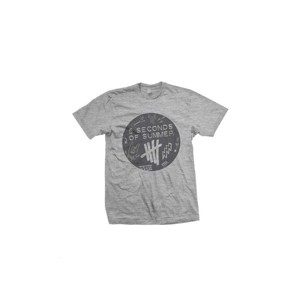 5 Seconds Of Summer Scribble Logo - Mens Heather Grey T-Shirt - MOBOLINE