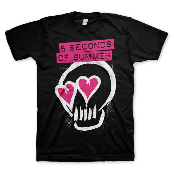 5-Seconds Of Summer Heart Skull - Mens Black T-Shirt - MOBOLINE