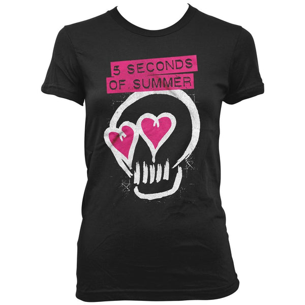 5 Seconds Of Summer Heart Skull - Womens Black T-Shirt - MOBOLINE