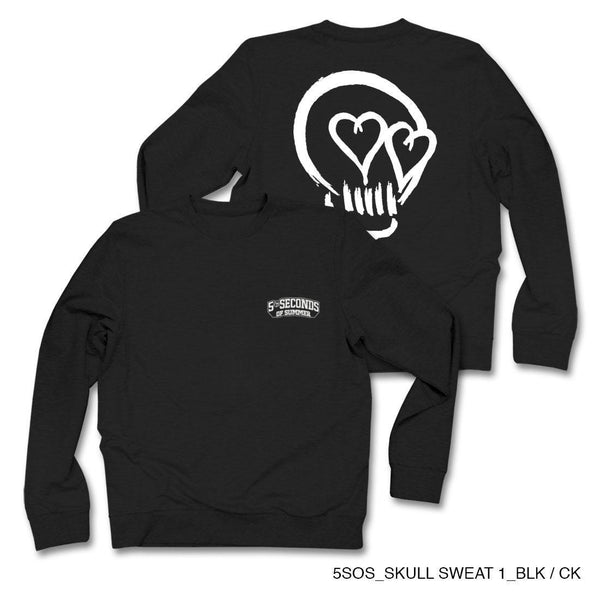 5sos Skull Sweat Black Crew Neck Fleece - MOBOLINE