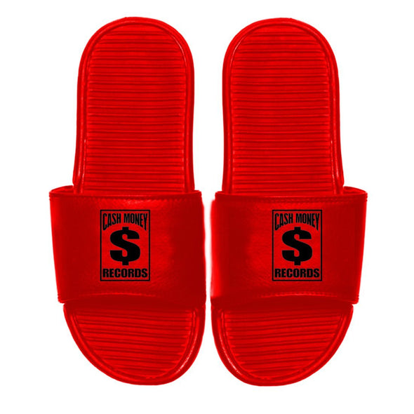 Cash Money Records Logo - Mens Red Slides - MOBOLINE
