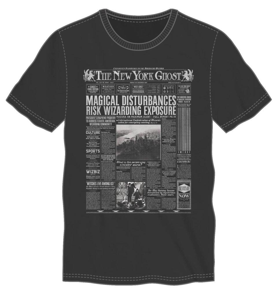 Harry Potter The New York Ghost American Wizarding Newspaper Men's Black T-Shirt - MOBOLINE