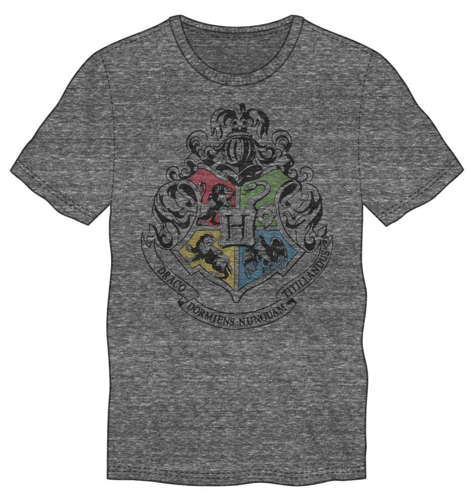Harry Potter Hogwarts Crest & Motto Draco Dormiens Nunquan Titillandus Men's Dark Gray T-Shirt - MOBOLINE