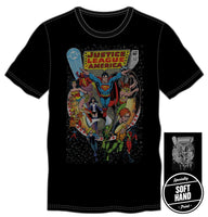 DC Comics JLA Justice League of America Men's Black Tee Shirt T-Shirt - MOBOLINE