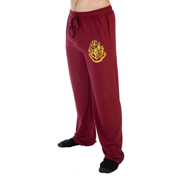 Harry Potter Hogwarts Crest Burgundy Sleep Lounge Pants - MOBOLINE