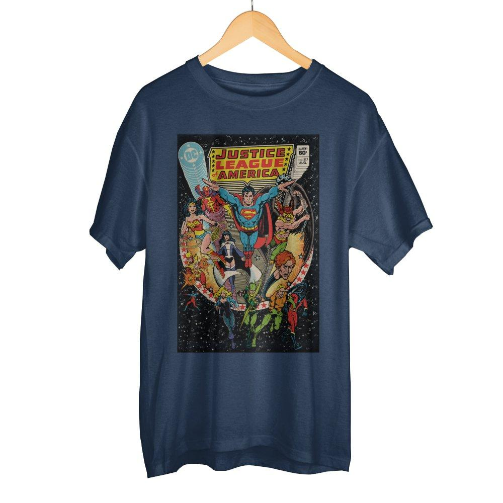 Classic Justice League DC Comic Book Cover Artwork Men's Navy Blue Graphic Print Boxed Cotton T-Shirt - MOBOLINE