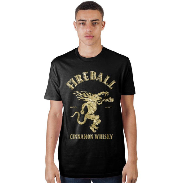 Fireball Red Hot Cinnamon Whisky Men's Black Tee T-Shirt Shirt - MOBOLINE