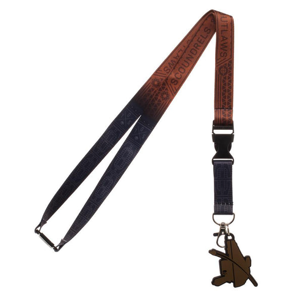 Disney Scoundrels and Outlaws Dual Lanyard, Star Wars Character Styled Key Holder with Rubber Pistol Charm - MOBOLINE