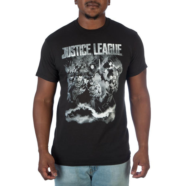 Justice League Black and White Photo T-Shirt - MOBOLINE