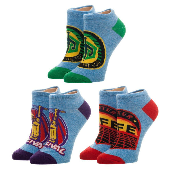 3 Pack Ready Player One Game Patch Socks, Juniors Ankle Sock Set, Gregarious Games, Parzival Gunter Patches - MOBOLINE