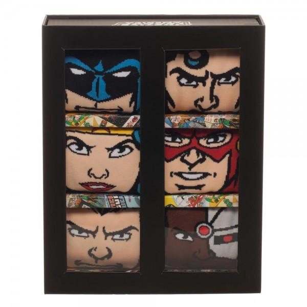 Justice League 6-pk 360 Character Crew Socks - MOBOLINE