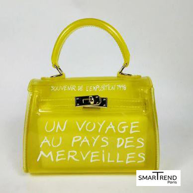 sac à main transparent jaune