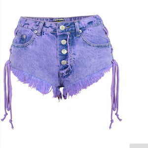 2018 New Highwaisted Mini Jeans Shorts Women and  At The Same Time, Sexy Denim Mini Shorts, Short Side Tie
