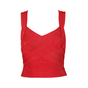 Bqueen 2017 New Sexy Elastic Spaghetti Strap Bandage Top Women Crops Tops For Summer Stretch V-Neck Tight Lady Camis Vest
