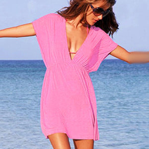 European Style Robe De Plage Summer Women Elastic Ice Swimwear Deep V-Neck Solid Short Sleeves Beach Cover Up