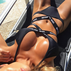 Sexy Love Bandage Black Swimsuit