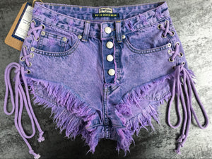 Lavender Ripped Lace Up Mini Shorts
