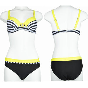 Striped Patchwork Push Up Swimsuit