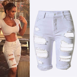 Knee Length Sexy Elastic Ripped Jean Shorts