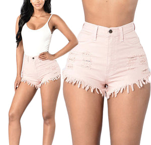 Hot Style High Waist Ripped Denim Shorts