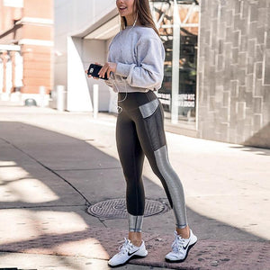 White Striped Mesh Pocket Leggings