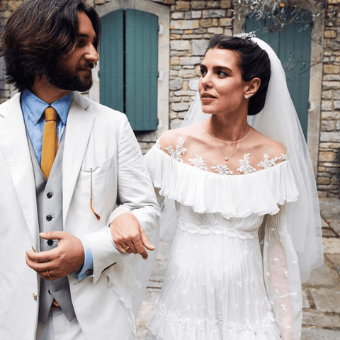 Charlotte Casiraghi in Giambattista Valli wedding gown