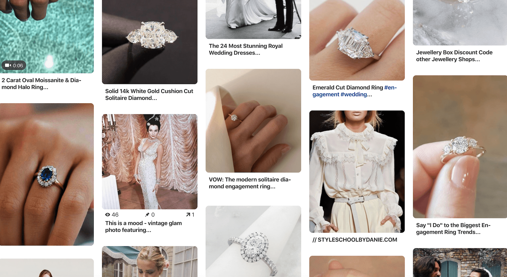 Pinterest is a great place to search for engagement ring inspiration