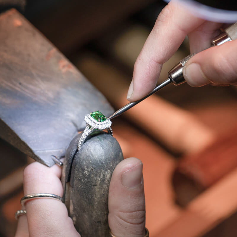 Custom engagement ring being crafted in Hearts of London's Hatton Garden jewellers workshop