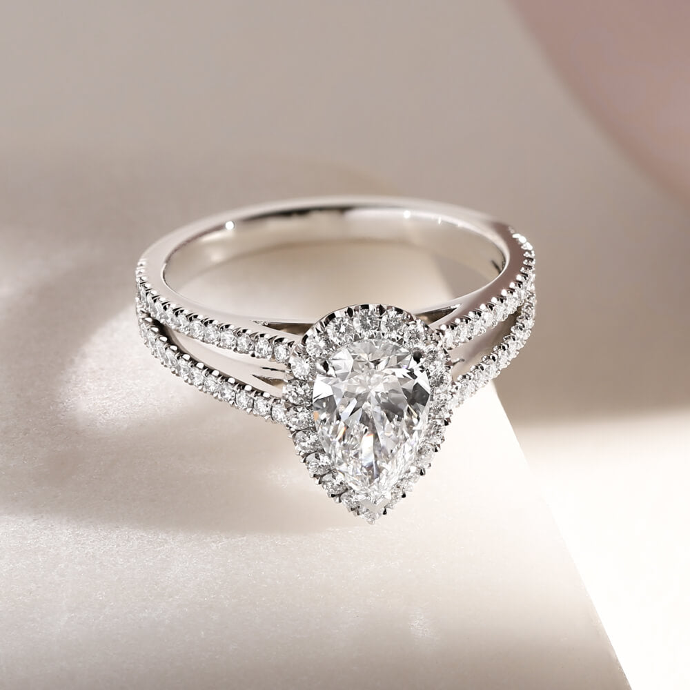 Bespoke pear diamond engagement ring with split shank